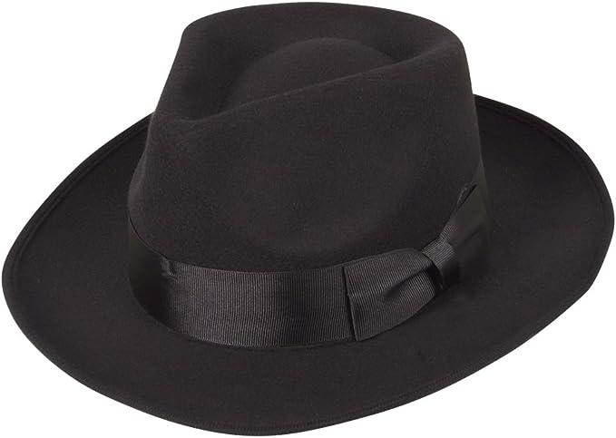Unisex Gangste Mobster Style Black Trilby Hat With Black Felt