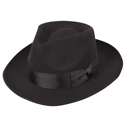 dd15021429d Classic 1940 s Gangster Mafia Al Capone New York Felt Fedora Style Hat New   Amazon.co.uk  Clothing