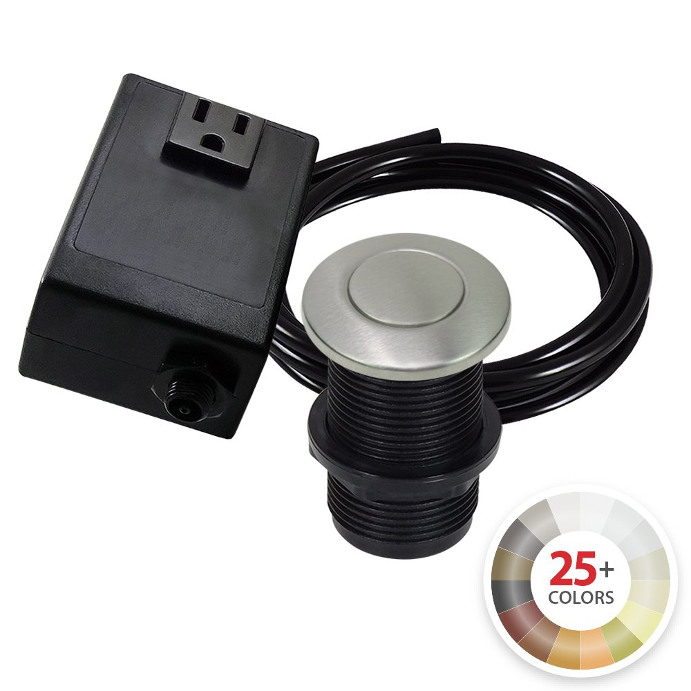 Single Outlet Garbage Disposal Turn On/Off Sink Top Air Switch Kit in Stainless Steel. Compatible with any Garbage Disposal Unit and Available in 25+ Finishes by NORTHSTAR DÉCOR. Model # AS010-SS