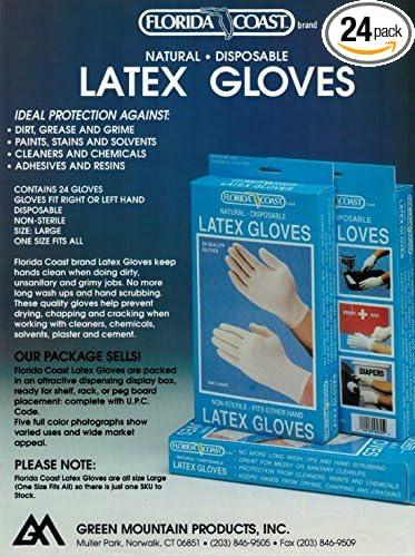 White Florida Coast 95623 Latex Gloves 24 Size Small