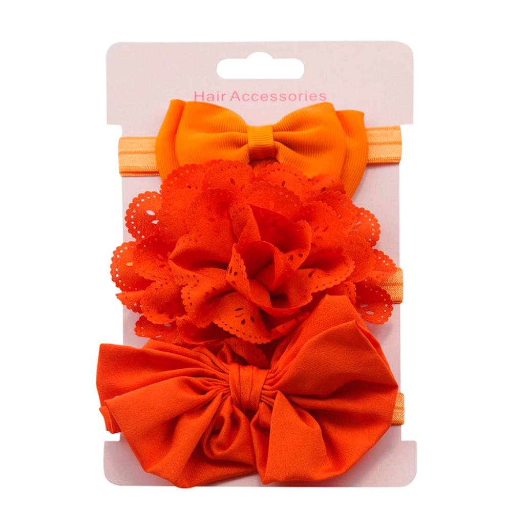 Clearance! 3pcs Baby's Headbands Girl's Cute Hair Bows Hair Bands Newborn Headband (Orange)