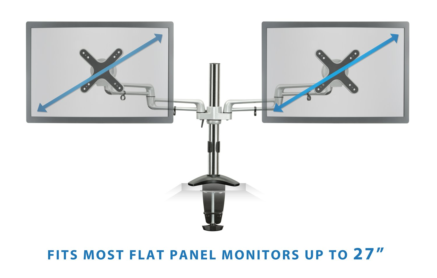 Mount-It! MI-732 Dual Monitor Office Desk Stand Mount Bracket with Clamp and Grommet Base for LCD LED Computer Monitors, Full-Motion Articulating Tilting 35.2 lbs Capacity, Up to 27 inch Black/Silver by Mount-It! (Image #3)