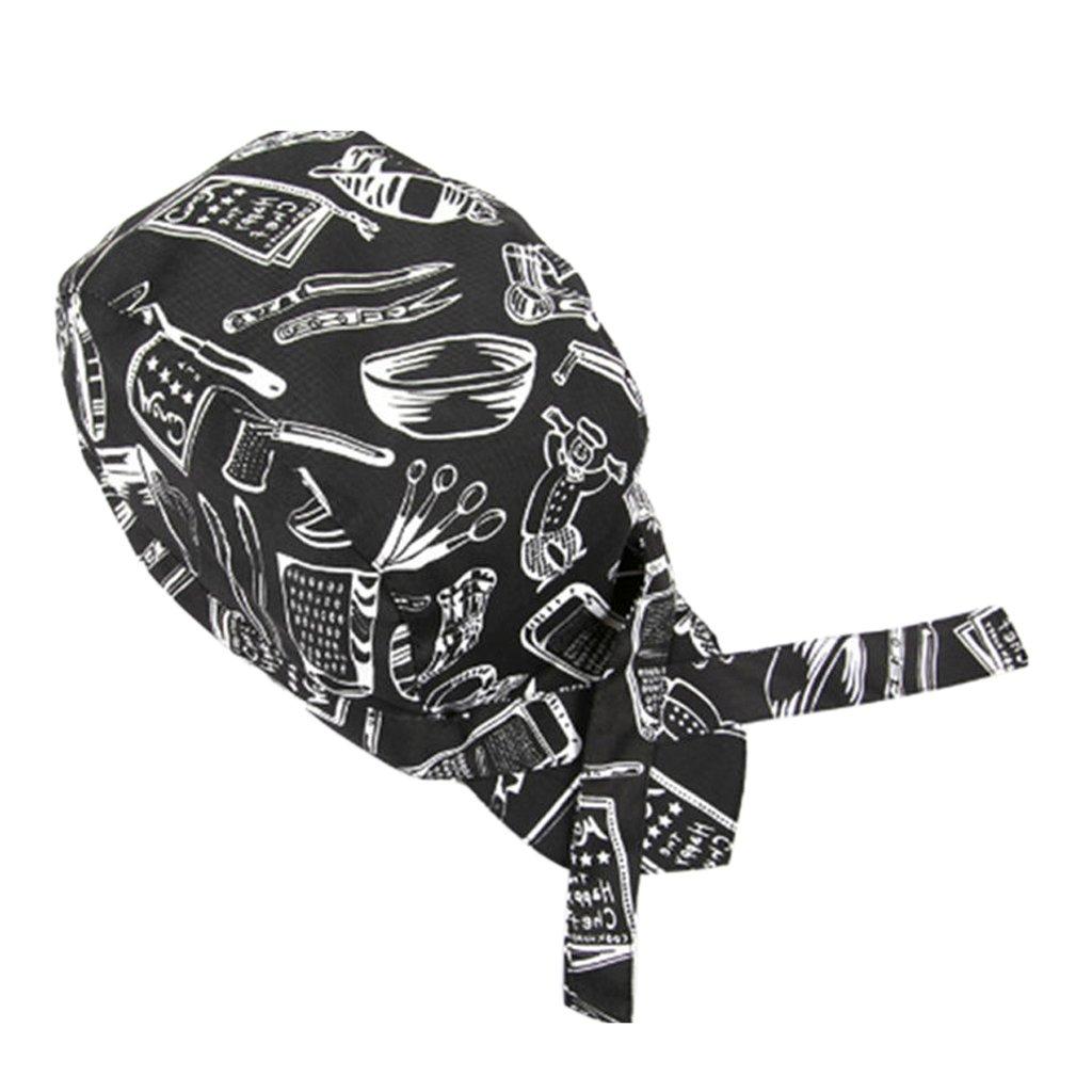 non-brand Sharplace 2 Pezzi Cappelli Protezione Bandana Pirate Skull Cap Chef Cappello Cameriere