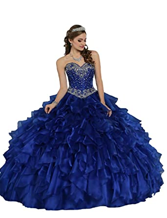 ca32ccd536c TaYan Women s Prom Ball Gowns Beaded Sweet 16 Long Quinceanera Dresses 0 US  Royal Blue
