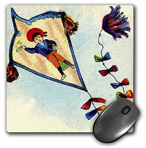 3dRose Florene Childrens Art - Boy On Kite In Blue Red Green - MousePad (mp_35322_1)