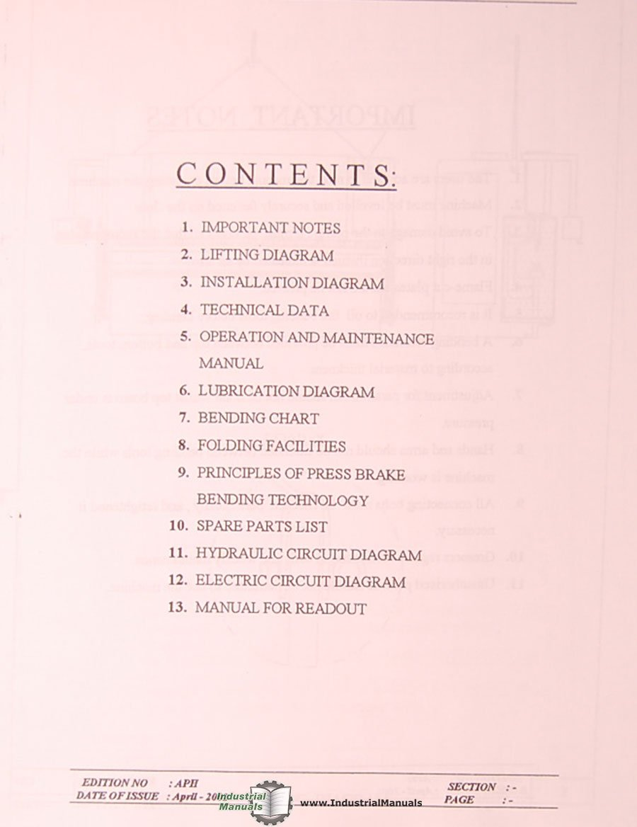 Primeline APH 45 to 350 Ton, Baykal Press Brakes User Manual