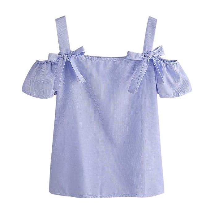 Camisetas sin mangas Chaleco de mujer,Koly Sólido atractivo Blusas y camisas de rayas a