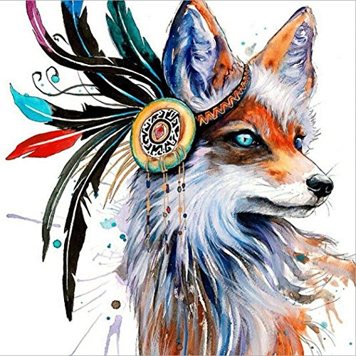 DIY 5D Diamond Painting by Number Kits, Crystal Rhinestone Diamond Embroidery Paintings Pictures Arts Craft for Home Wall Decor, Full Drill Canvas,Indian Fox (LX-173HULI-11.8x11.8in) by KTCLCATF