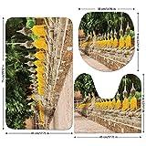 3 Piece Bathroom Mat Set,Asian-Decor,Picture-of-Religious-Statues-in-Thailand-Traditional-Thai-Home-Decor-Decorative,Cream-Yellow-Green.jpg,Bath Mat,Bathroom Carpet Rug,Non-Slip