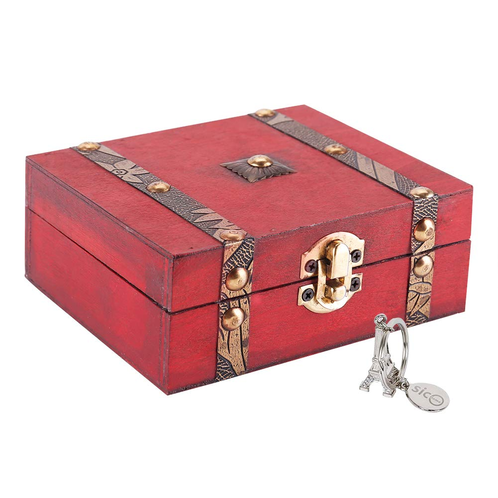 SICOHOME Treasure Box,5.1 inch Small Wooden Box for Boys,Girls and Gifts