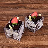 20 Elegant Square Plastic Dessert Cups With Lids