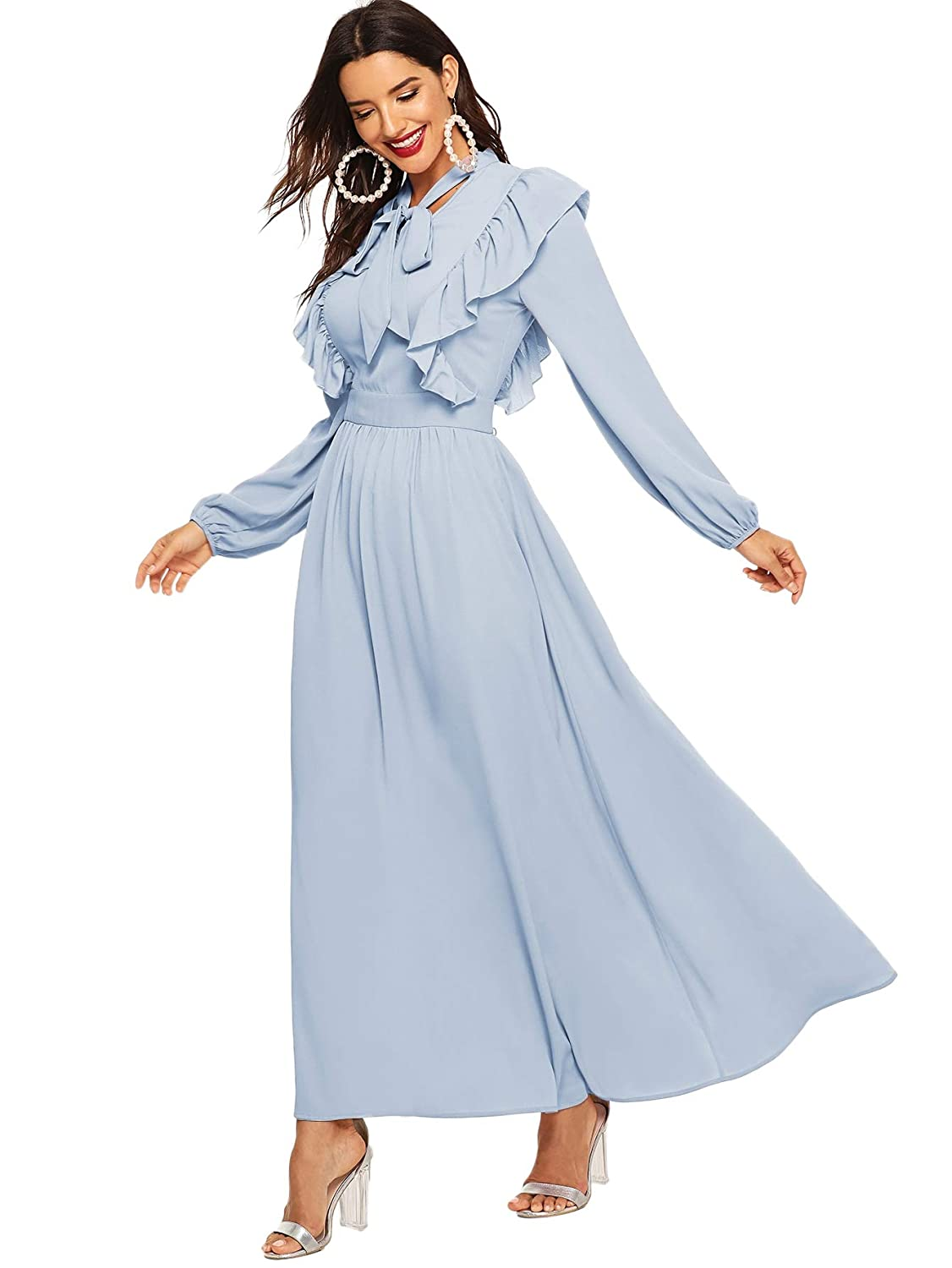 1930s Day Dresses, Afternoon Dresses History Verdusa Womens Tie Neck Ruffle Trim Long Sleeve Flared Flowy Maxi Dress $36.99 AT vintagedancer.com