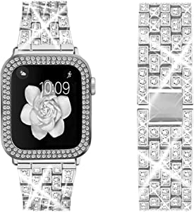 Bekomo [3-pack] Compatible for Apple Watch Band 44mm with Rhinestone Protective Cover,1pack Women Girls Bling Diamond Metal Strap & 2pack Soft PC Bumper Protective Case for iWatch Series 6/5/4.