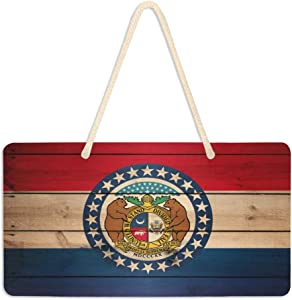 "Missouri US State Flag Wood Door Sign PVC Welcome Wall Decorative Hanging Plaque for Front Porch Home Yard Indoor Outdoor with Hang Rope 6"" x 11"""