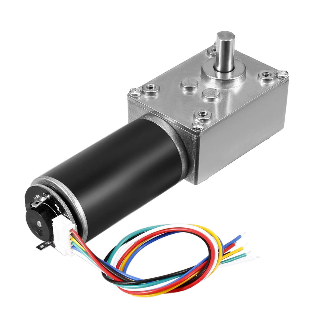 uxcell DC 12V 74RPM 6.4Kg.cm Self-Locking Worm Gear Motor with Encoder and Cable High Torque Speed Reduction Motor