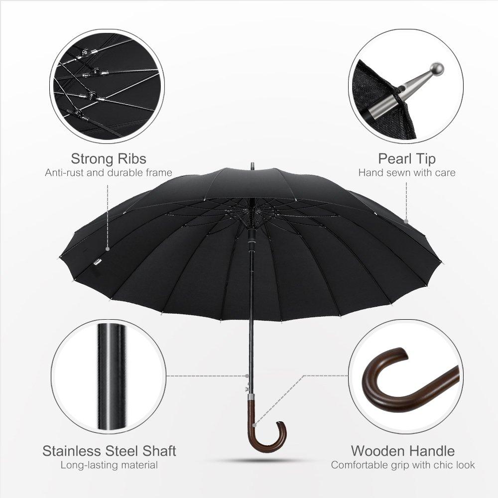 Plemo Paraguas Negros 16 Costillas Antiviento Paraguas de Gran Tamaño Abrirá Automáticamente Clásico (47.2/120 cm Diámetro).: Amazon.es: Hogar