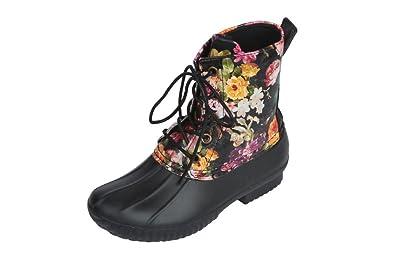 avanti girls 2 tone lace up combat style rain duck boots black flwr 12 - Duck Rain Boots