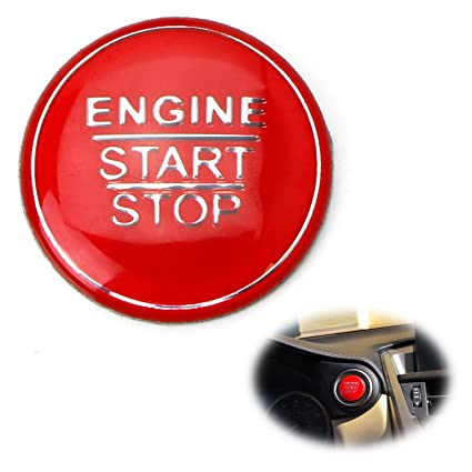 iJDMTOY (1) Gloss Red Keyless Engine Push Start Button Cover For Toyota  Camry Tacoma Prius Avalon Mirai etc w/Push Start Engine On/Off Feature