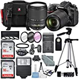 Nikon D7200 24.2MP CMOS Digital SLR Camera with AF-S DX NIKKOR 18-140mm f/3.5-5.6G ED VR Lens Total of 24 GB SDHC Class10 & 4Pc. Macro Close-up Filter Set + Complete Deluxe Accessory Kit