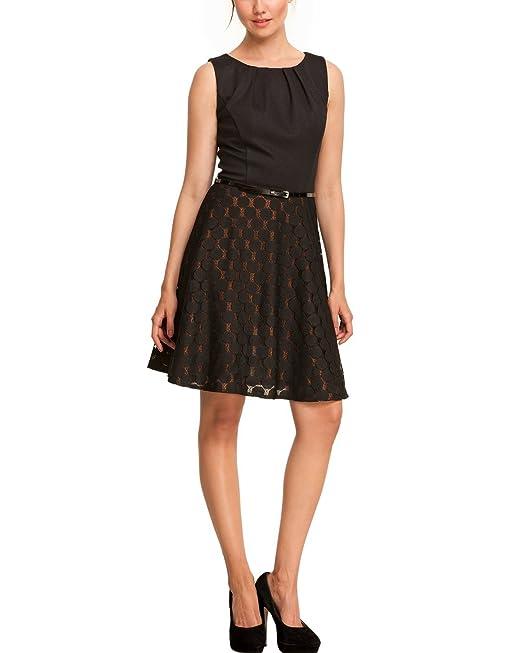 Comma Damen Kleid mit Gürtel (knielang) 89.308.82.2410 Regular Fit