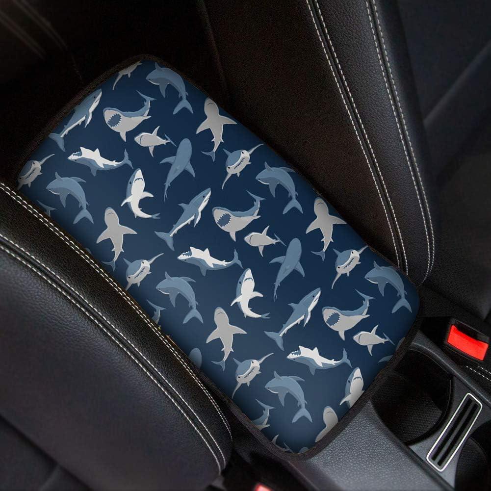 Showudesigns Universal Car Center Console Armrest Cushion Cover Pads, Shark Car Armrest Box Cover Protector, Animal Car Interior Accessory Decor