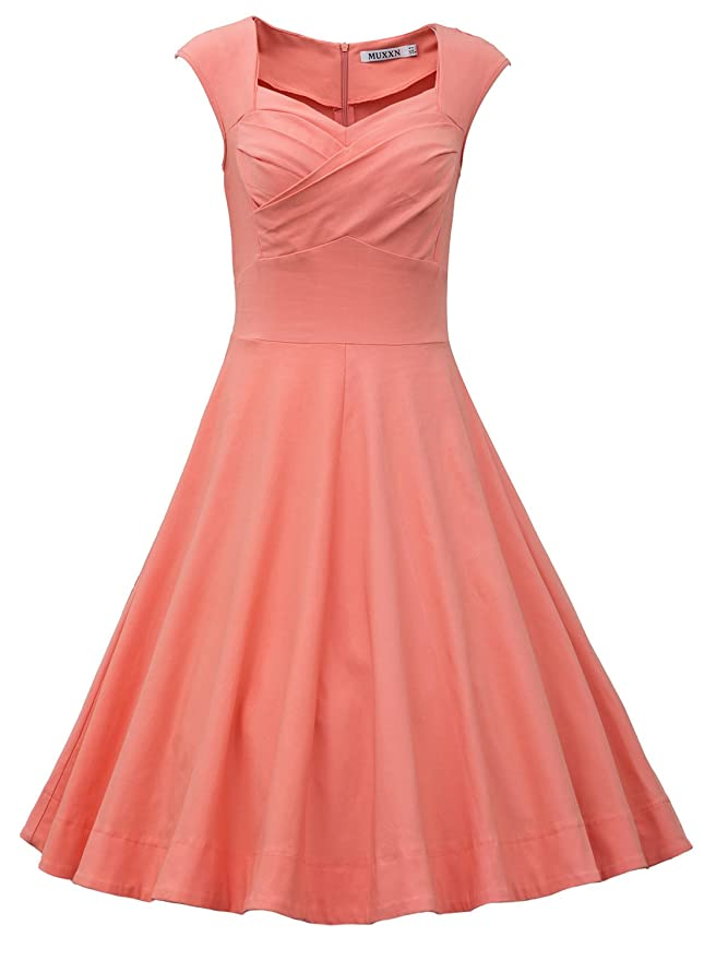 1960s Style Dresses- Retro Inspired Fashion MUXXN Womens 1950s Retro Vintage Cap Sleeve Party Swing Dress $36.99 AT vintagedancer.com