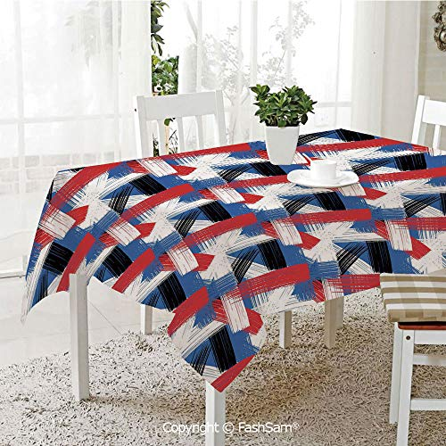 (AmaUncle 3D Dinner Print Tablecloths Geometric Grunge Bold Stripes with Artistic Brushstrokes Motif Resistant Table Toppers (W60 xL84))