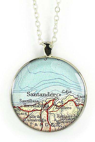 1945 Vintage collar de mapa Santander España bronce colgante de ...