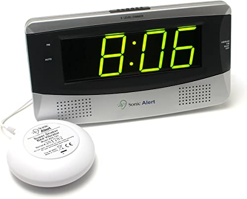 Sonic Alert Large Digital Clock, Loud Alarm Clock for Heavy Sleepers with Snooze, Full Range Brightness Dimmer, Outlet Powered Digital Clocks for Bedroom, Desk, Bedside, Shelf gray
