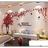 Albero Adesivo da Parete, Alberi e Uccelli 3D Adesivi Murali Arts Wall Sticker Decorativi per TV Par (XL-400 * 200cm, Rosso Sinistra)