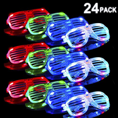 POKONBOY 24 Pack Glow in The Dark LED Glasses, Bulk Light Up Glasses Led Party Favors, Neon Party Supplies Party Favors (Random Color) -