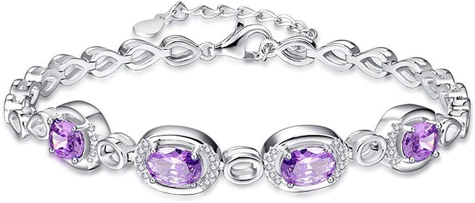 Sterling Silver Amethyst Bangle,Bezel Setting Bangle,Silver Cuff,Purple Gemstone Bangle,February Birthstone,Women Gift with White Rhodium.