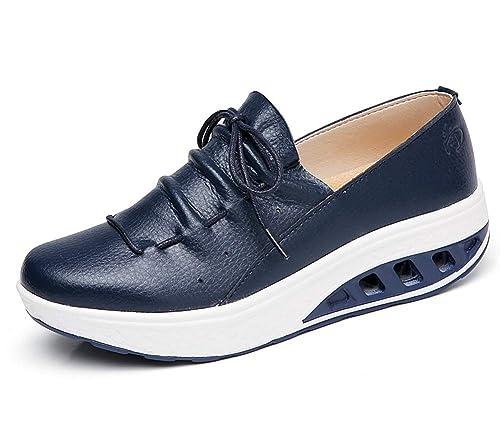 lovejin Mujer Adelgazar Zapatos Sneakers Deporte Cuña Zapatos Plataforma Sneakers Caminar Fitness Transpirable Deportes al Aire Libre Zapatos: Amazon.es: ...
