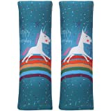 Car Seat Belt Pillow for Kids, 2Pcs Unicorn Car Seat Belt Cover Pad Head and Neck Support (Unicorn Green)