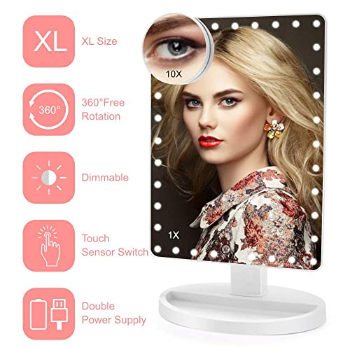 Lighted Makeup Mirror X-Large Model , COSMIRROR Large Makeup Vanity Mirror with 35 LED Lights and 10X Magnifying Mirror, Touch Sensor, Dual Power Supply, 360 Rotation Light Up Mirror White