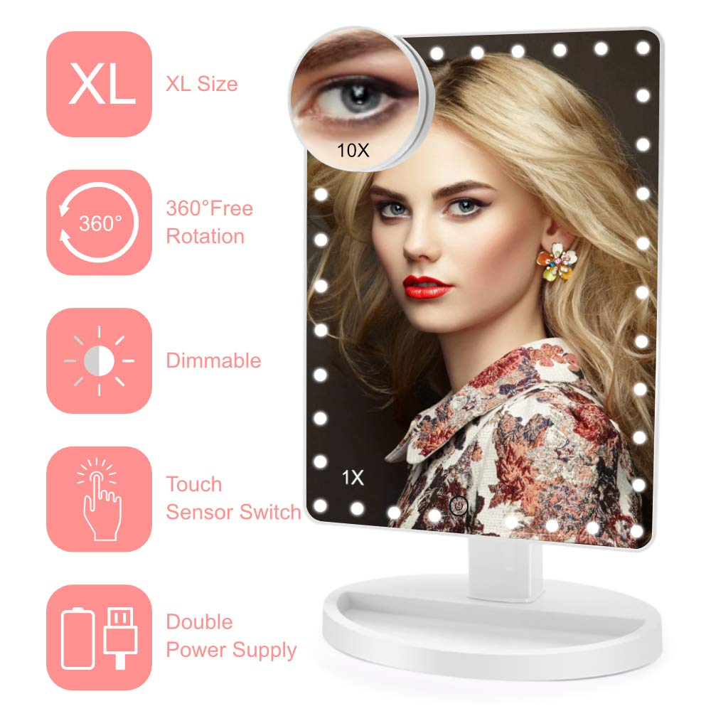 Lighted Makeup Mirror (X-Large Model), COSMIRROR Large Makeup Vanity Mirror with 35 LED Lights and 10X Magnifying Mirror, Touch Sensor, Dual Power Supply, 360° Rotation Light Up Mirror (White)