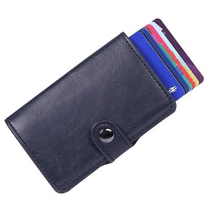 Bojly Soporte de Tarjeta de crédito, Billetera de Tarjeta con Clip de Dinero Anti-RFID y NFC, 2 Estuches antirrobo de Cuero Crazy Horse y Aluminio, ...