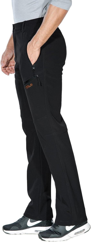 Nonwe Mens Warm Windproof Zipper Pockets Snow Pants Fleece Mountain Hiking Ski Trip