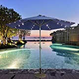 CASUN GARDEN 9ft Outdoor Aluminum Umbrella with Solar Powered LED Lights, Navy blue