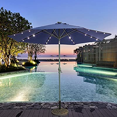 CASUN GARDEN 9ft Outdoor Aluminum Umbrella with Solar Powered LED Lights, Navy blue - 180g Polyester, waterproof, UV-blocking and fade resistant Vented top, 8 Ribs construction offer more stability Upgraded 24 Solar powered Led lights, 3 led lights in each rib - shades-parasols, patio-furniture, patio - 61KdV3y9HmL. SS400  -