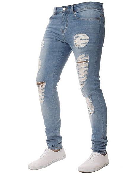 XARAZA Men's Stretchy Ripped Skinny Biker Jeans Slim Fit Denim Pants Destroyed Hole