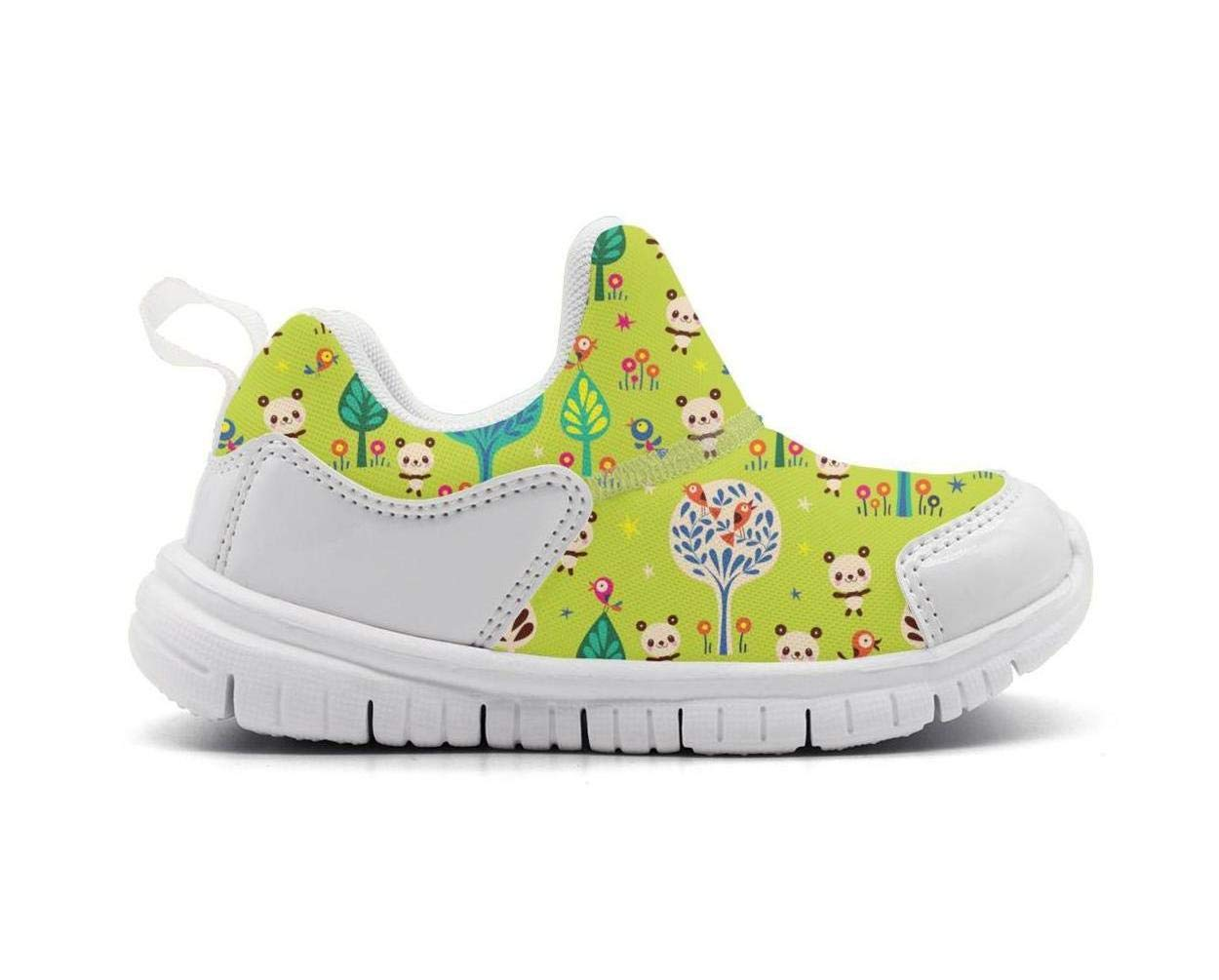ONEYUAN Children Green Panda Bears in Forest Kid Casual Lightweight Sport Shoes Sneakers Walking Athletic Shoes