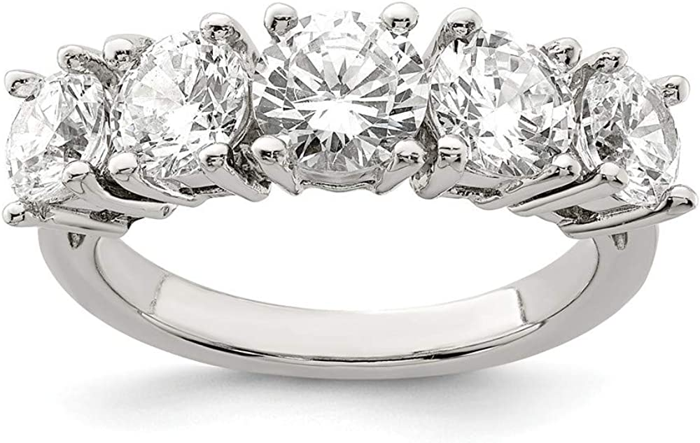 925 Sterling Silver 5 Stone Cubic Zirconia Cz Band Ring Fine Jewelry For Women Gifts For Her
