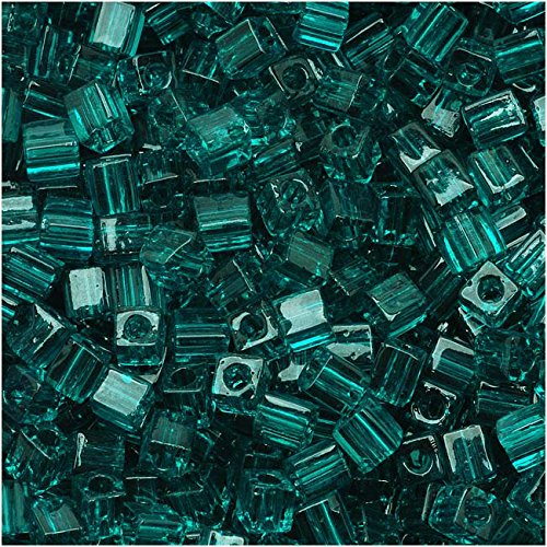 - Miyuki 4mm Glass Cube Beads Transparent Teal Green #2405 10 Grams