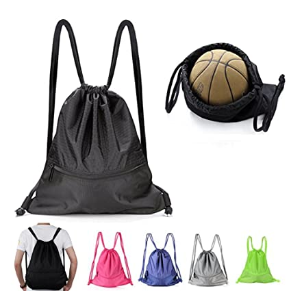 40bc12995f08 Sports Drawstring Bag Unisex Large Gym Sackpack Water Resistant lightweight  Travel basketball workout waterproof backpack (