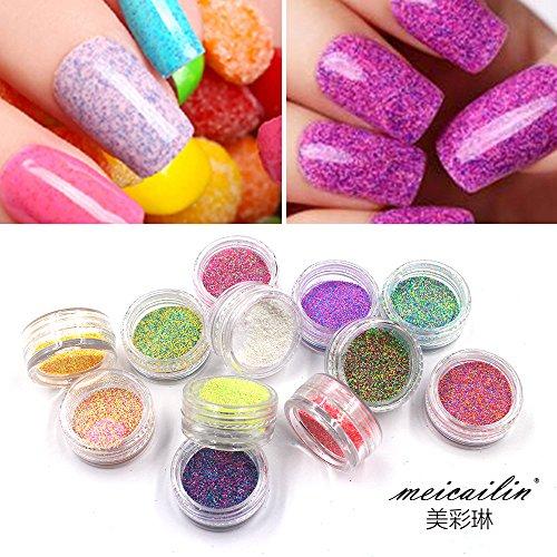 QIMYAR New 12Pcs/set 3D Pigments Sequins Nail Sugar Glitter