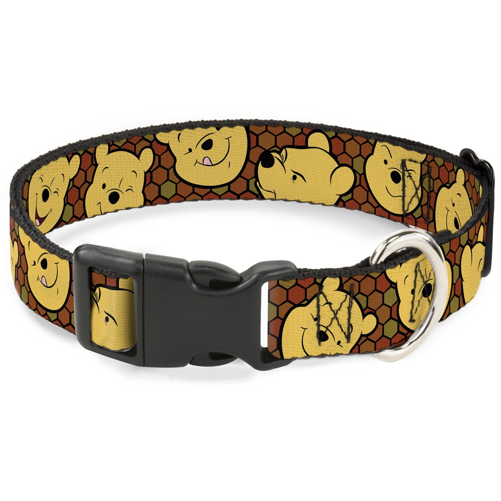 Buckle-Down Breakaway Cat Collar - Winnie the Pooh Expressions/Honeycomb Black/Browns - 1/2'' Wide - Fits 8-12'' Neck - Medium