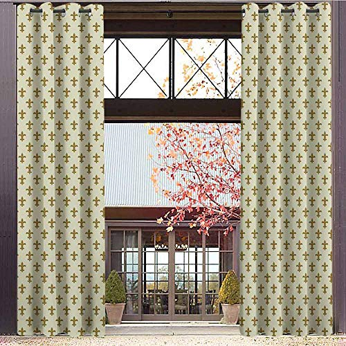 Inspired Silk Peace Top (hengshu Geometric Shading Insulated Curtain Ornamental Abstract Shapes Pattern in Soft Colors Image Vintage Inspired for Living Room or Bedroom W84 x L96 Inch Pale Yellow Khaki)