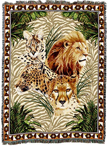 (Pure Country Weavers | Big Cats Lion Cheetah Leopard Jaguar Woven Tapestry Throw Blanket with Fringe Cotton USA 72x54 )