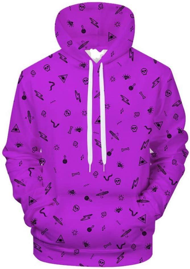 PU Printemps et Automne Violet 3D Hoodies Hommes Femmes Sweat À Capuche Imprimer Sweats Drôle Pull Streatwear Survêtement Survêtement Manteau,S L